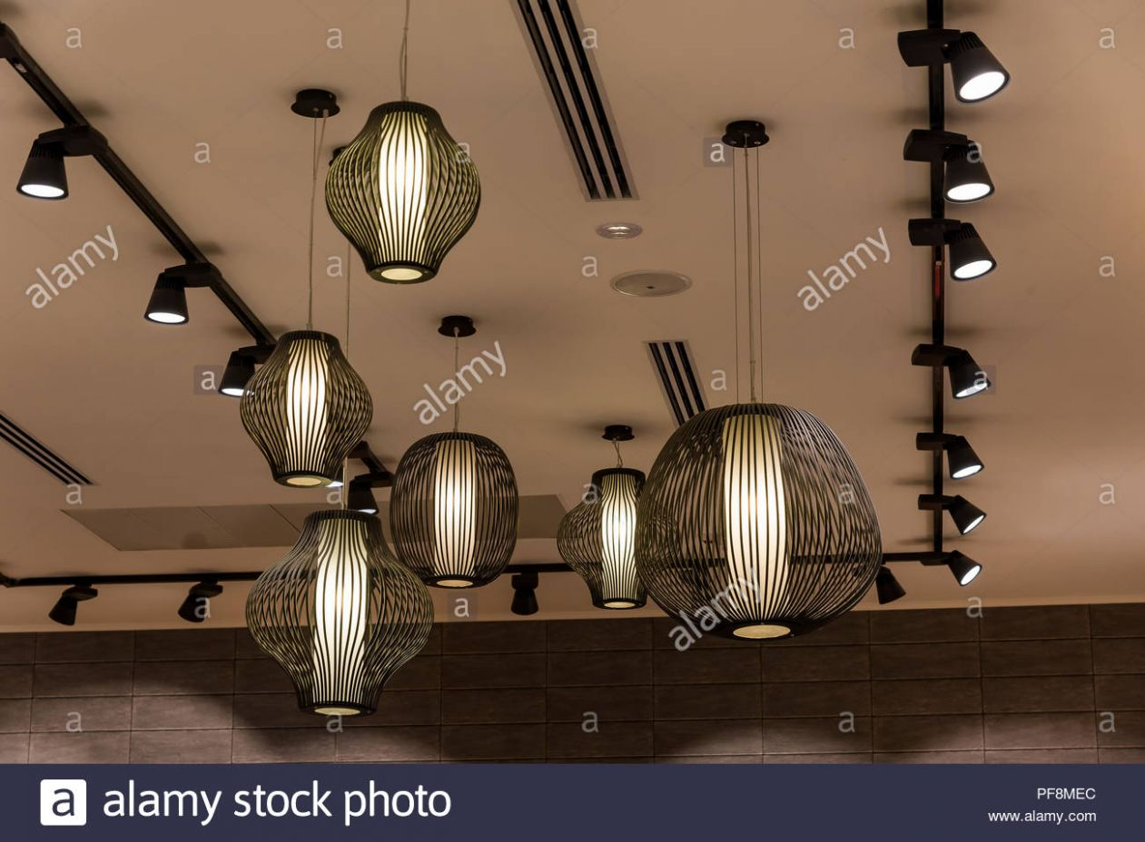 Decorating hanging lantern lamps in wooden wicker made from bamboo ...