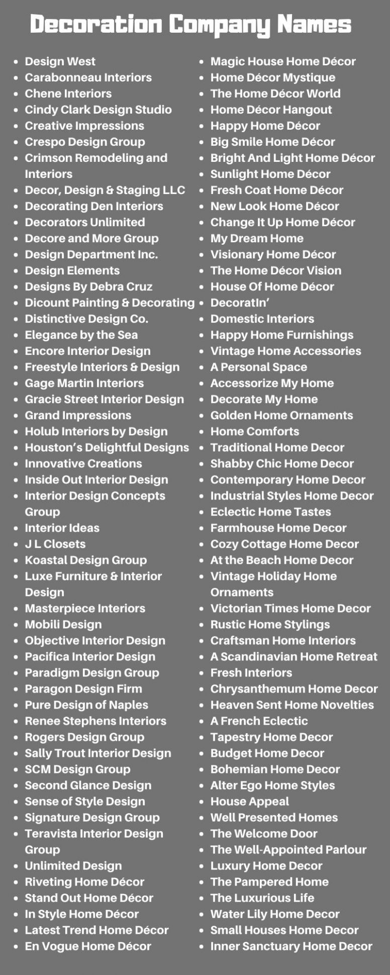 Decoration Company Names: 11+ Business Names for Home Decor