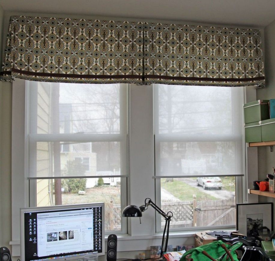 Decoration, Marvelous Gray Graphic Fabric Valance Ideas With White ...