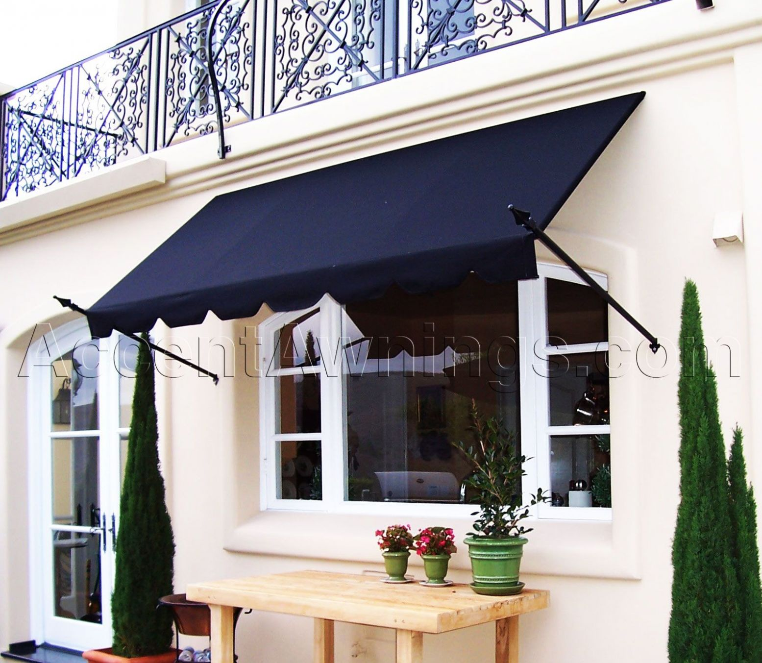 Decorative and Spear Stationary Awnings | Window shutters indoor ...