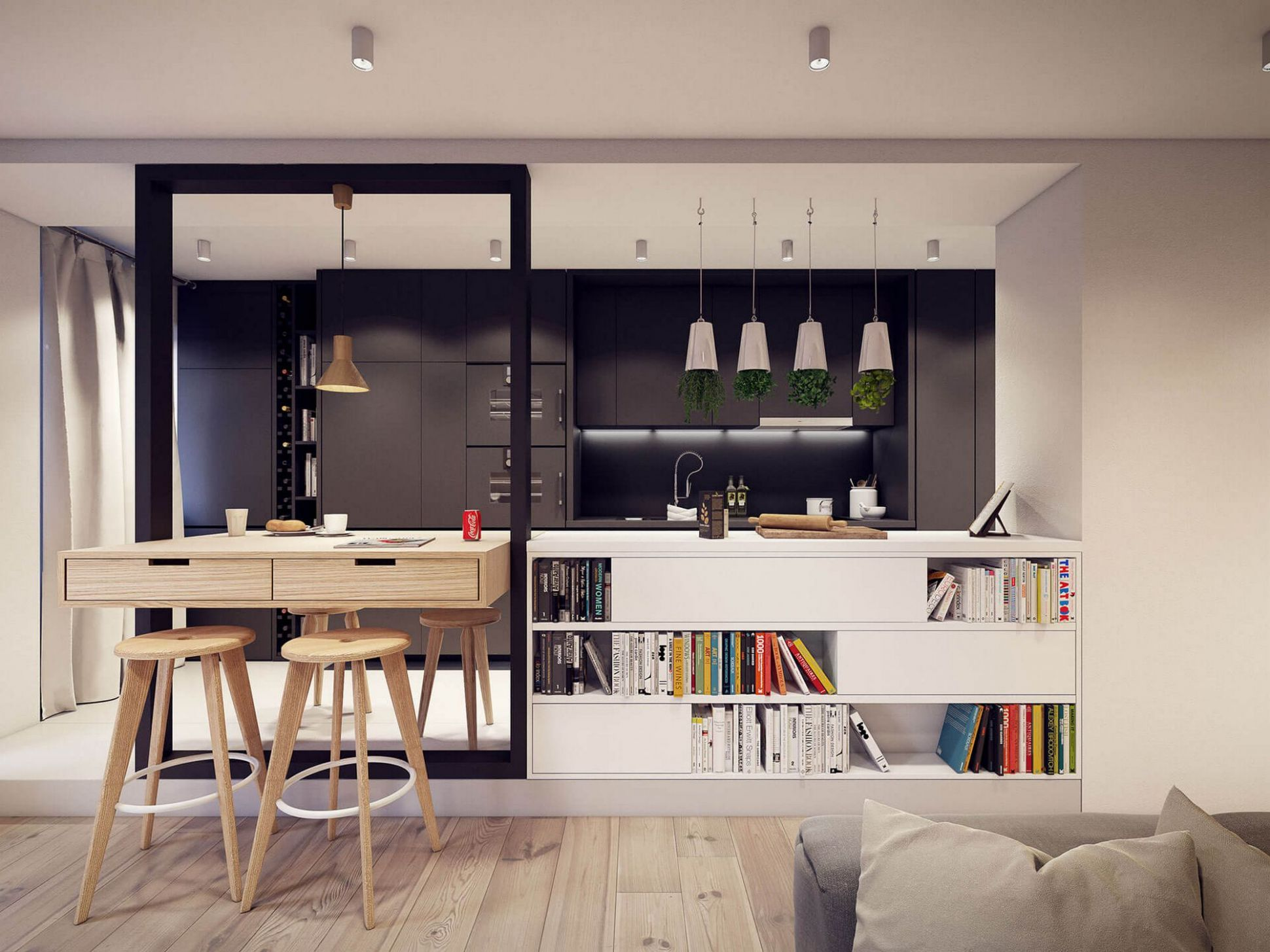 Designing project of the stylish apartments in Lodz