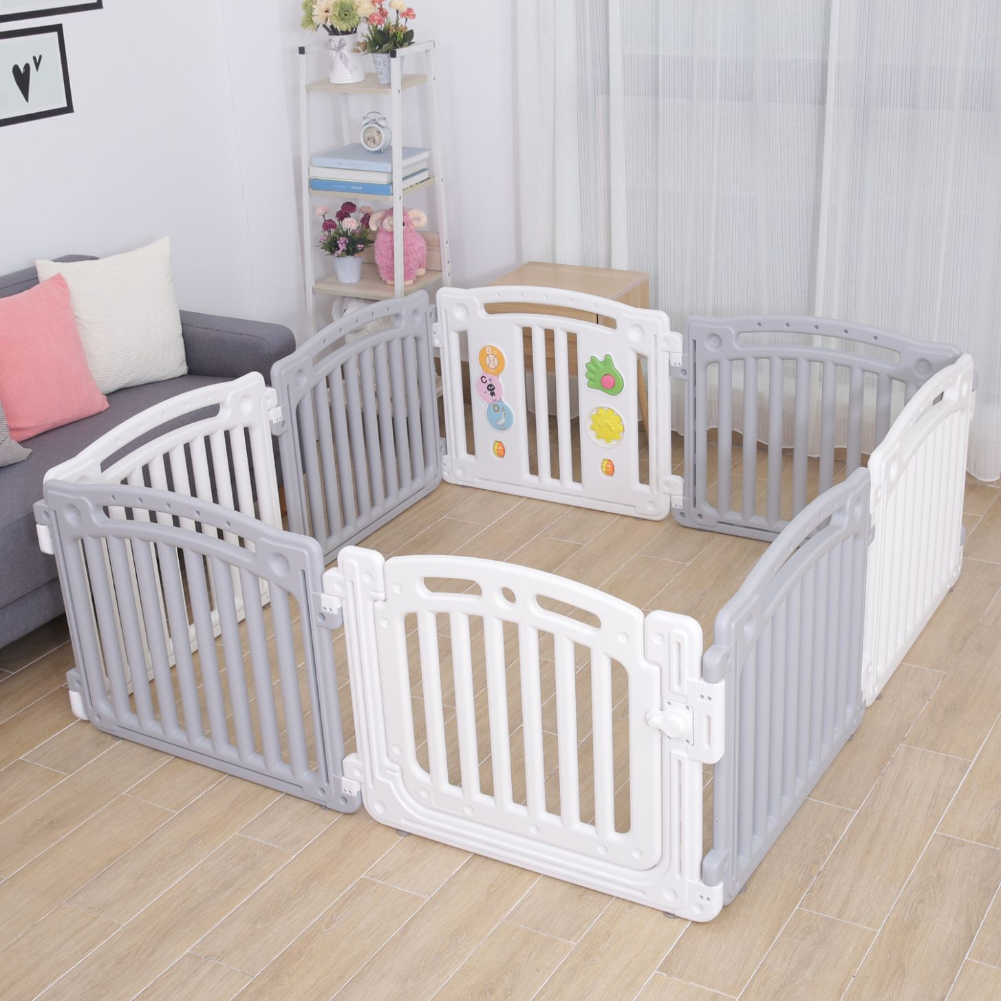 Details about Large 1111 Panels Baby Plastic Playpen Room Divider 1111in11 Play  Gate White/Grey PP11G - baby room divider
