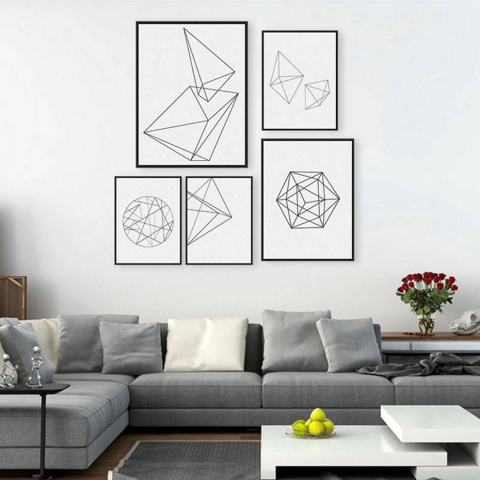 Details about Modern Abstract Geometric Shapes A12 Posters Nordic ..