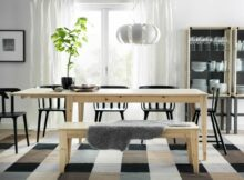 Dining Room Sleek Wooden With Oak Table And Bench Also Small Space ...
