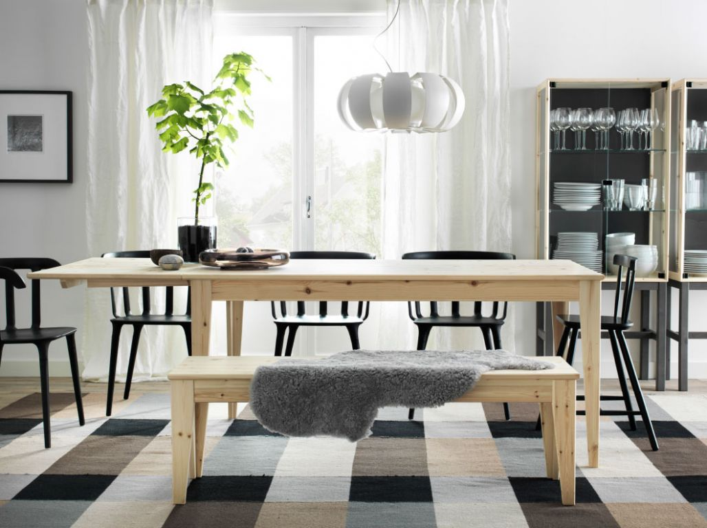 Dining Room Sleek Wooden With Oak Table And Bench Also Small Space ..