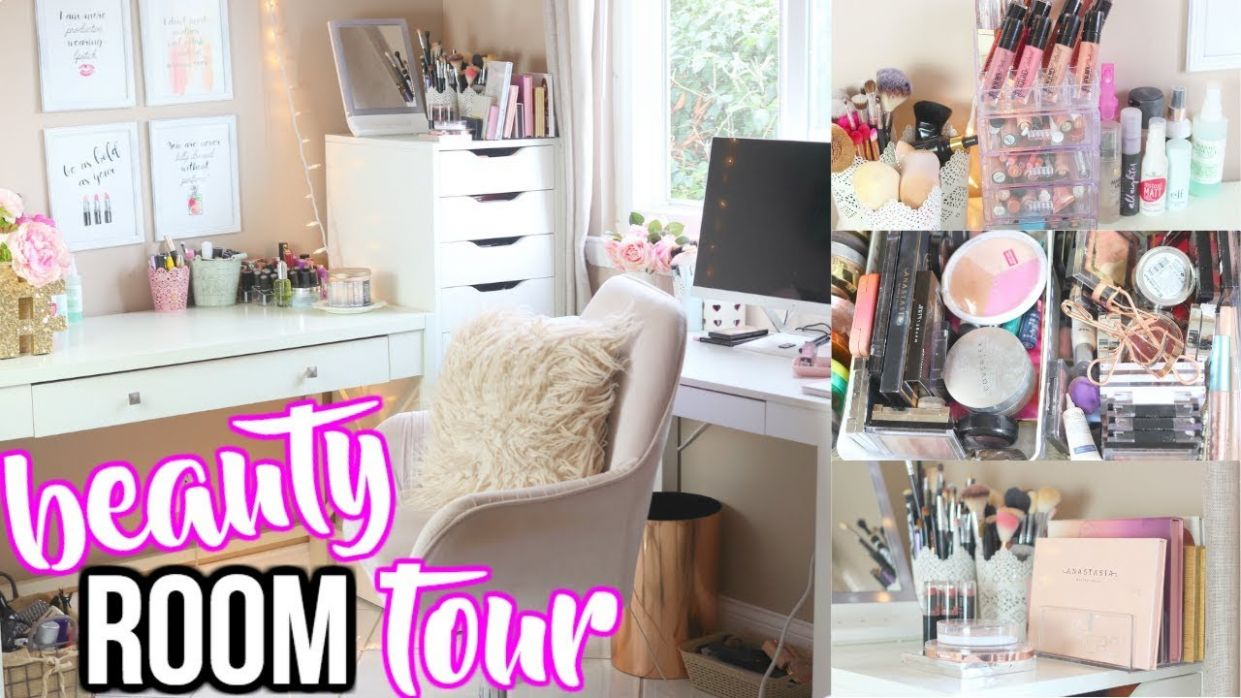 DINING ROOM TO BEAUTY ROOM! | BEAUTY ROOM TOUR 9 MAKEUP STORAGE AND  ORGANIZATION