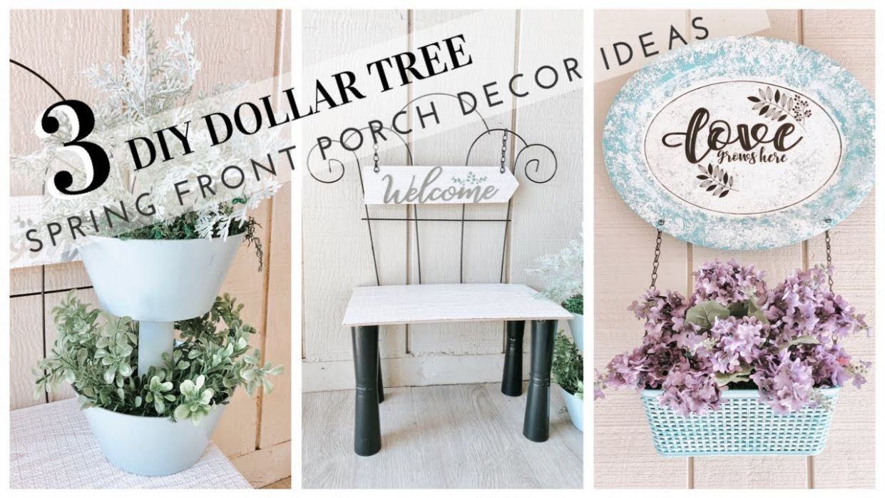 DIY DOLLAR TREE SPRING FRONT PORCH DECOR - youtube front porch decor