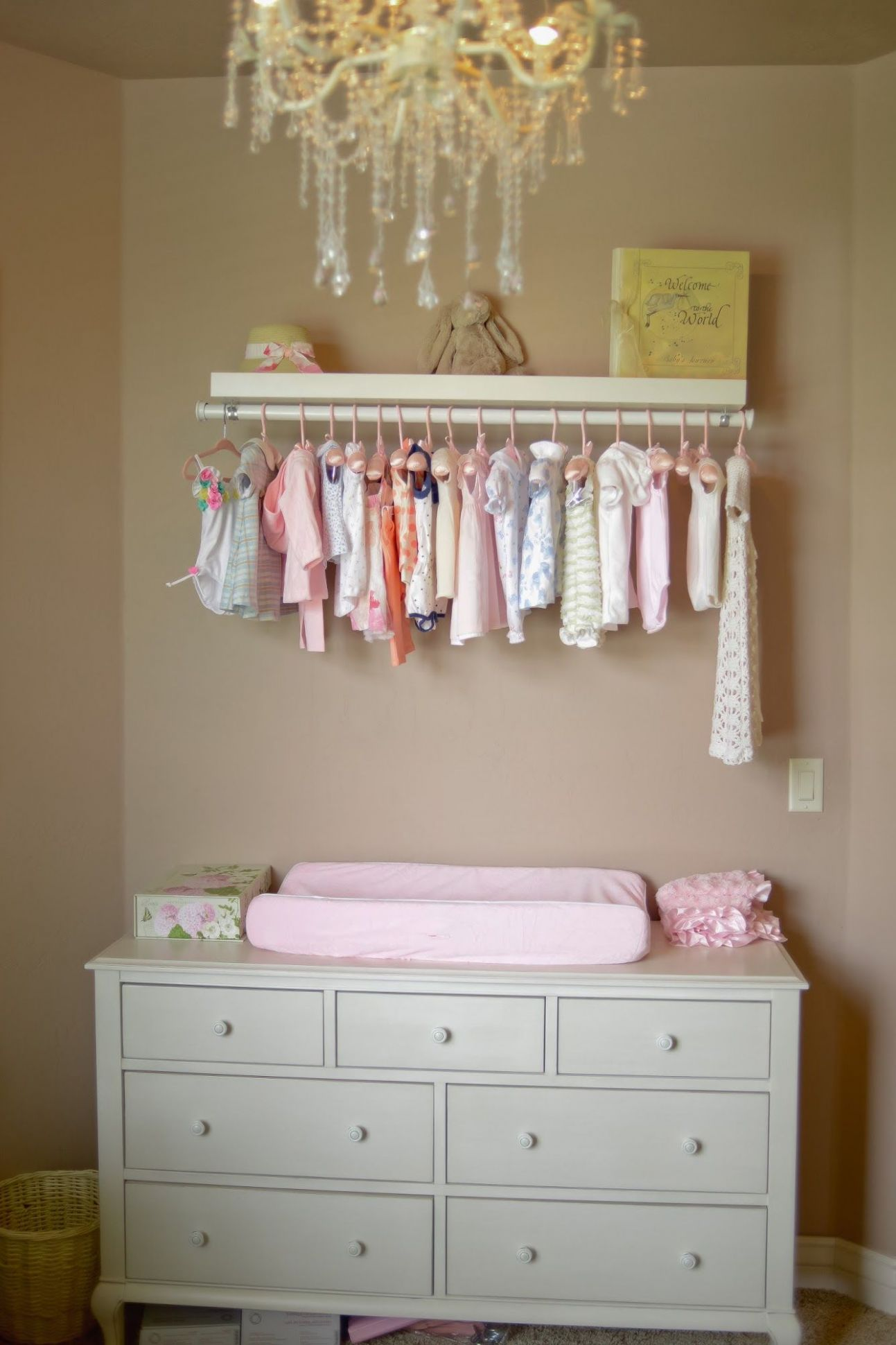 DIY exposed closet | Baby room storage, Baby changing tables, Baby ...