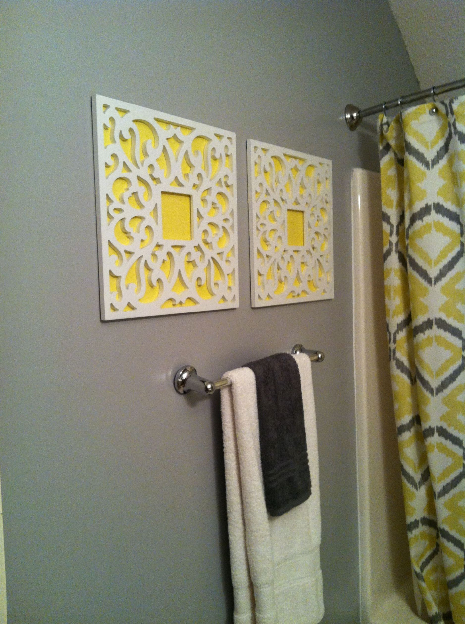 DIY #frames #posterboard yellow and gray bathroom | Yellow ..