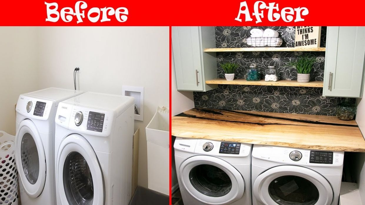 DIY Laundry Room Makeover From Start to Finish - laundry room countertop ideas