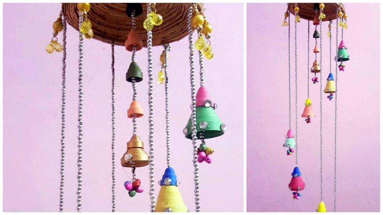 DIY newspaper and Quiling Paper wall hanging I Best DIY home decor wind  chime