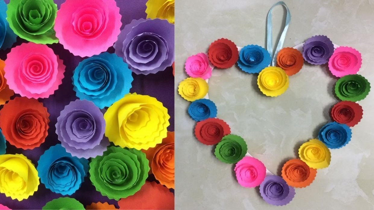 DIY Paper Rose Wall Hanging - Easy Wall Decoration Ideas - Simple Home Decor - wall decoration ideas using paper