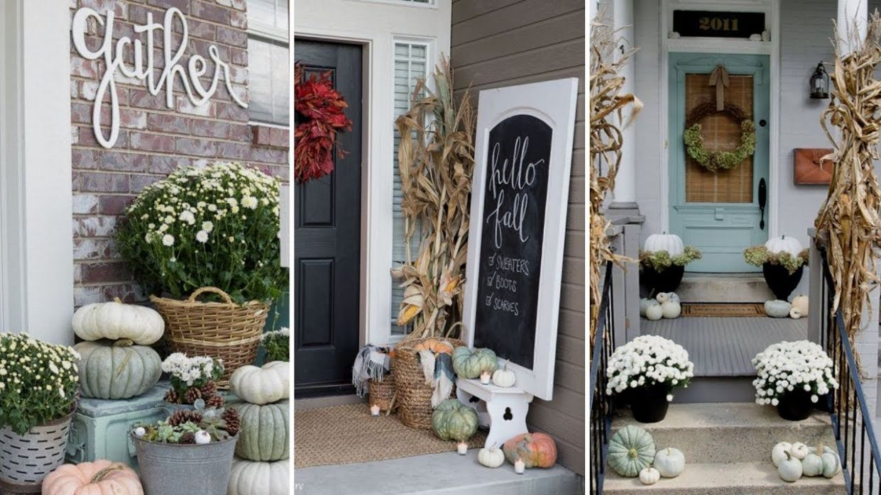 ❤DIY Rustic Farmhouse style Fall Front Porch decor Ideas❤ | Fall Home decor  | Flamingo Mango - youtube front porch decor