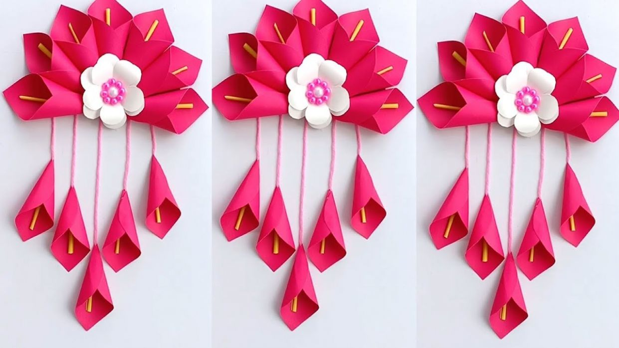 DIY SIMPLE HOME DECOR WALL DECORATION HANGING FLOWER PAPER CRAFT IDEAS -  PAPER CRAFT - diy simple home decor hanging flowers