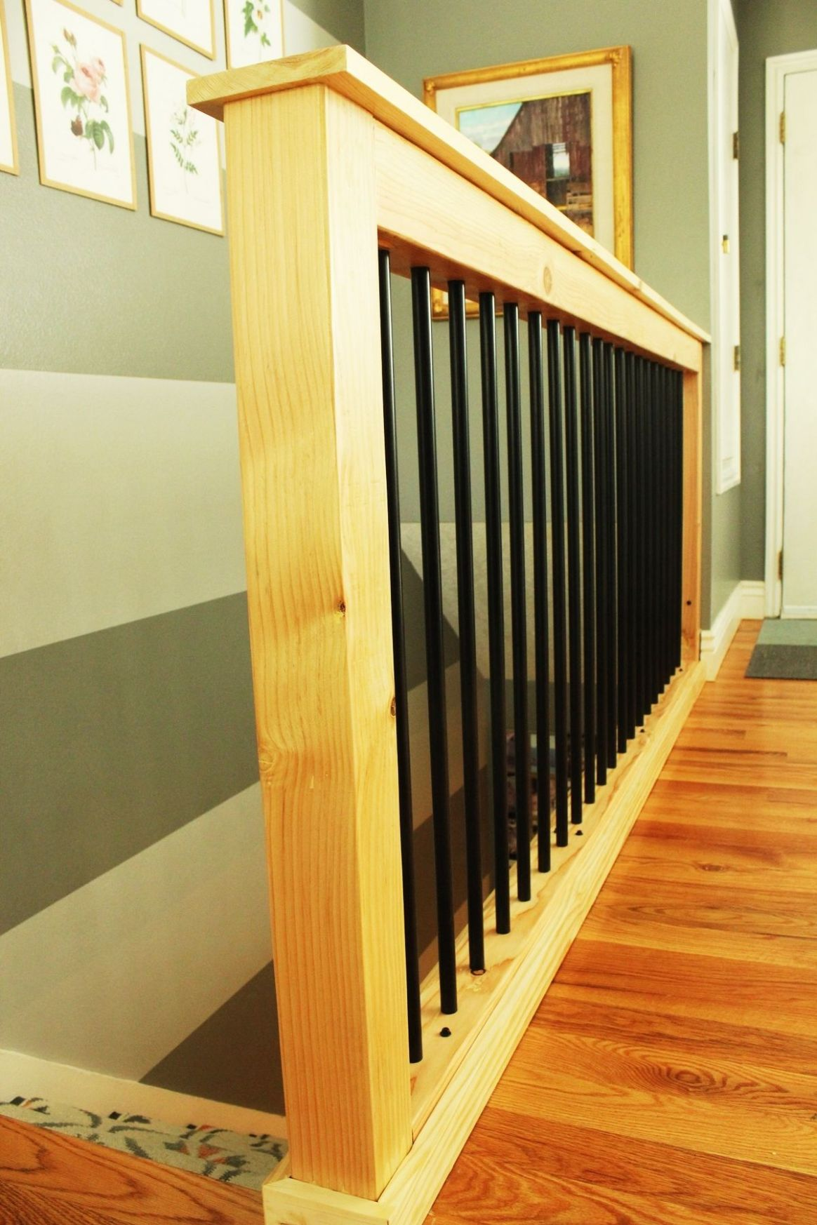 DIY Stair Handrail with Industrial Pipes and Wood - balcony railing ideas indoor