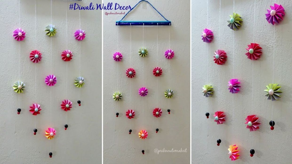 DIY wall decoration idea | how to make easy paper wall hanging for diwali  decoration - wall decoration ideas using paper