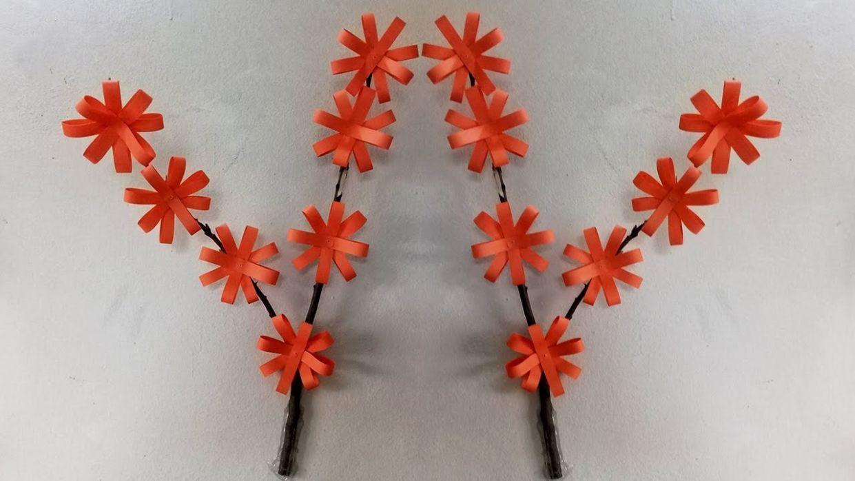 DIY Wall Decoration Ideas with Paper | Diy Room Decor | Paper Flowers Wall  Decoration