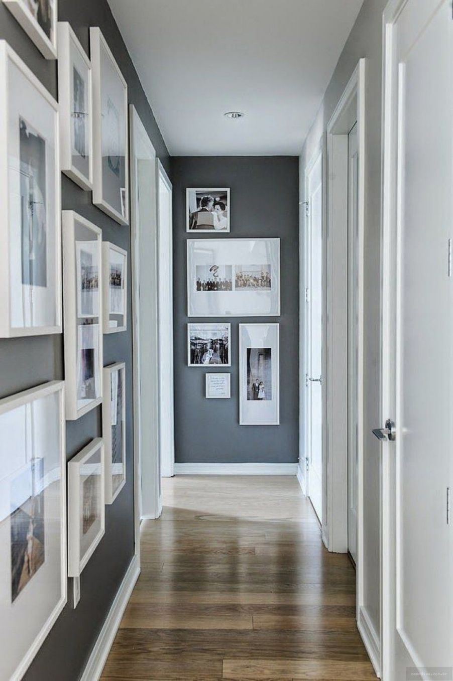 Download Grey White Paint Narrow Bedroom Hallway With Gloss Wooden ..