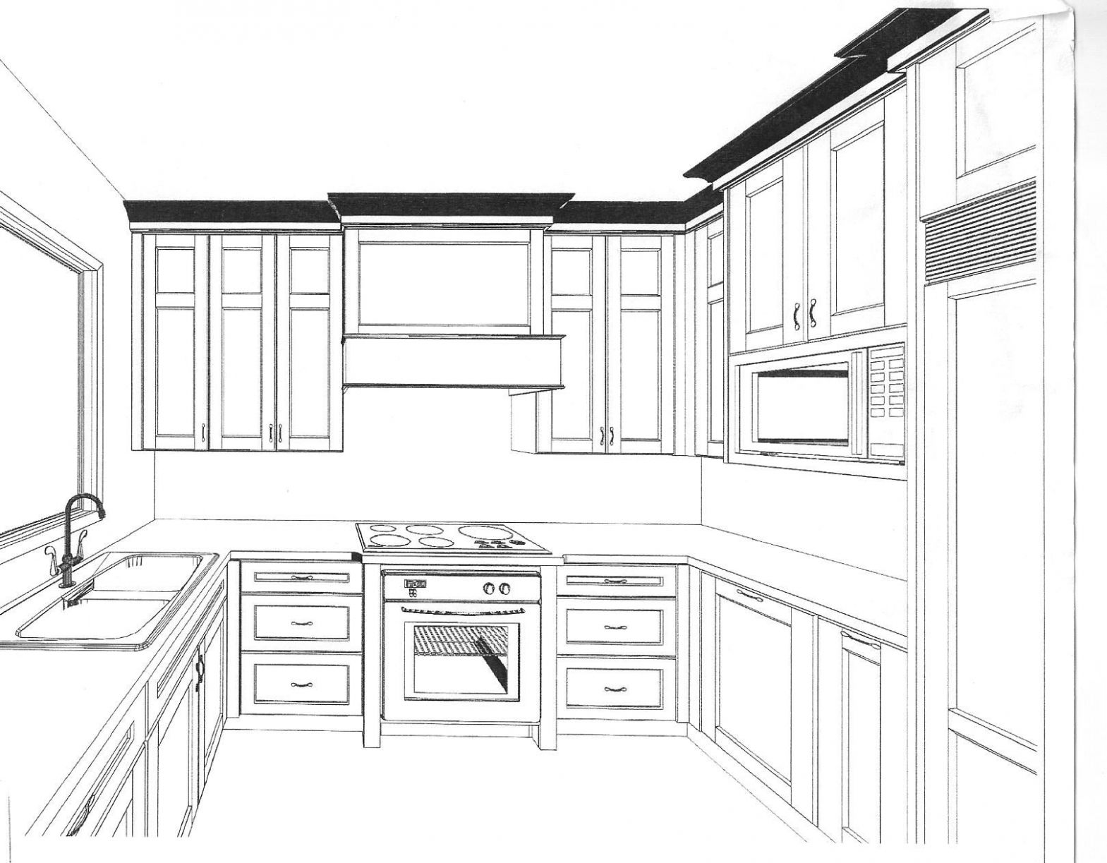 Draw Kitchen Cabinets Drawing Images Cabinet Design Your Own ...