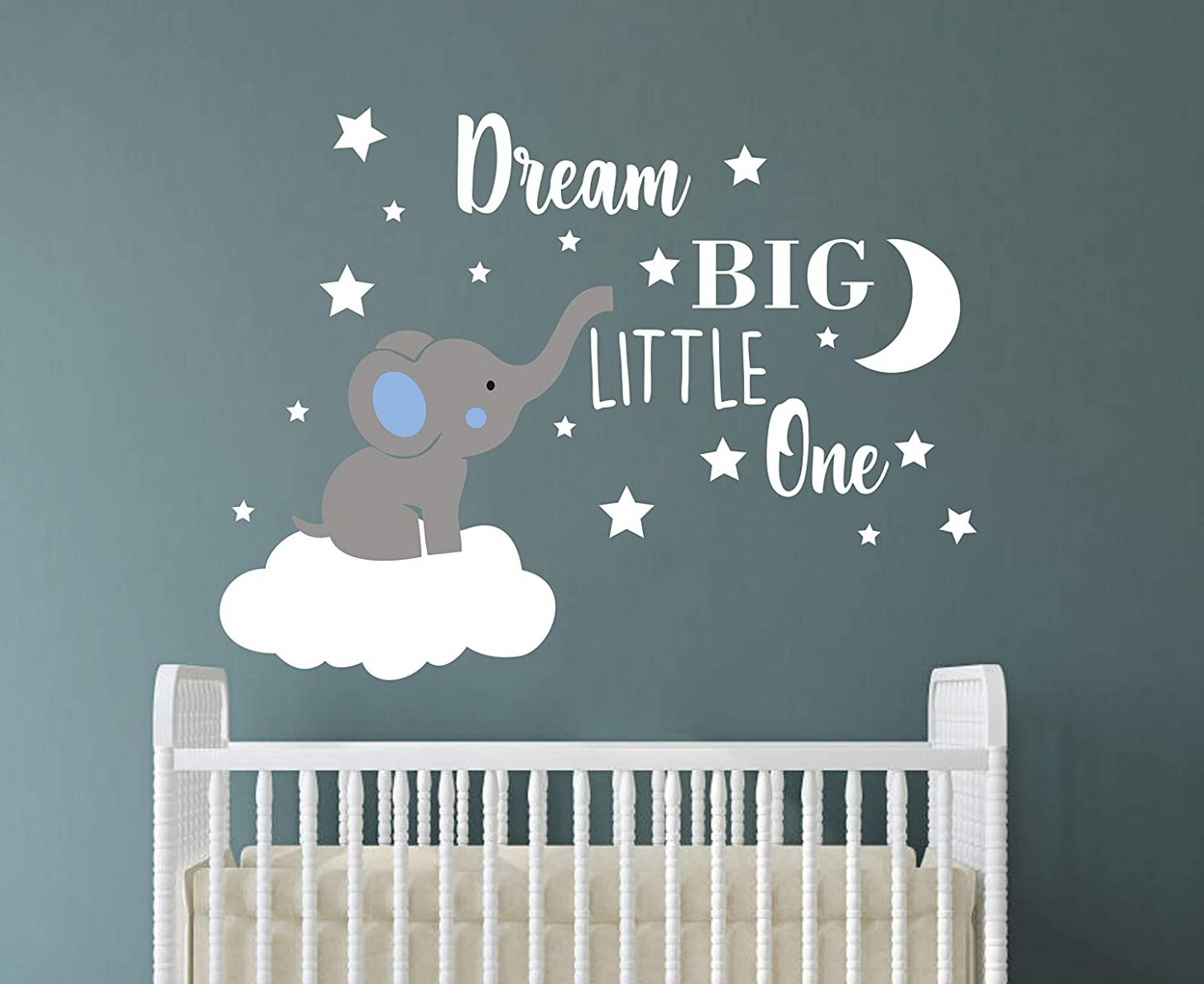Dream Big Little One Elephant Wall Decal, Quote Wall Stickers, Baby Room  Wall Decor, Vinyl Wall Decals for Children Baby Kids Boy Girl Bedroom  Nursery ..