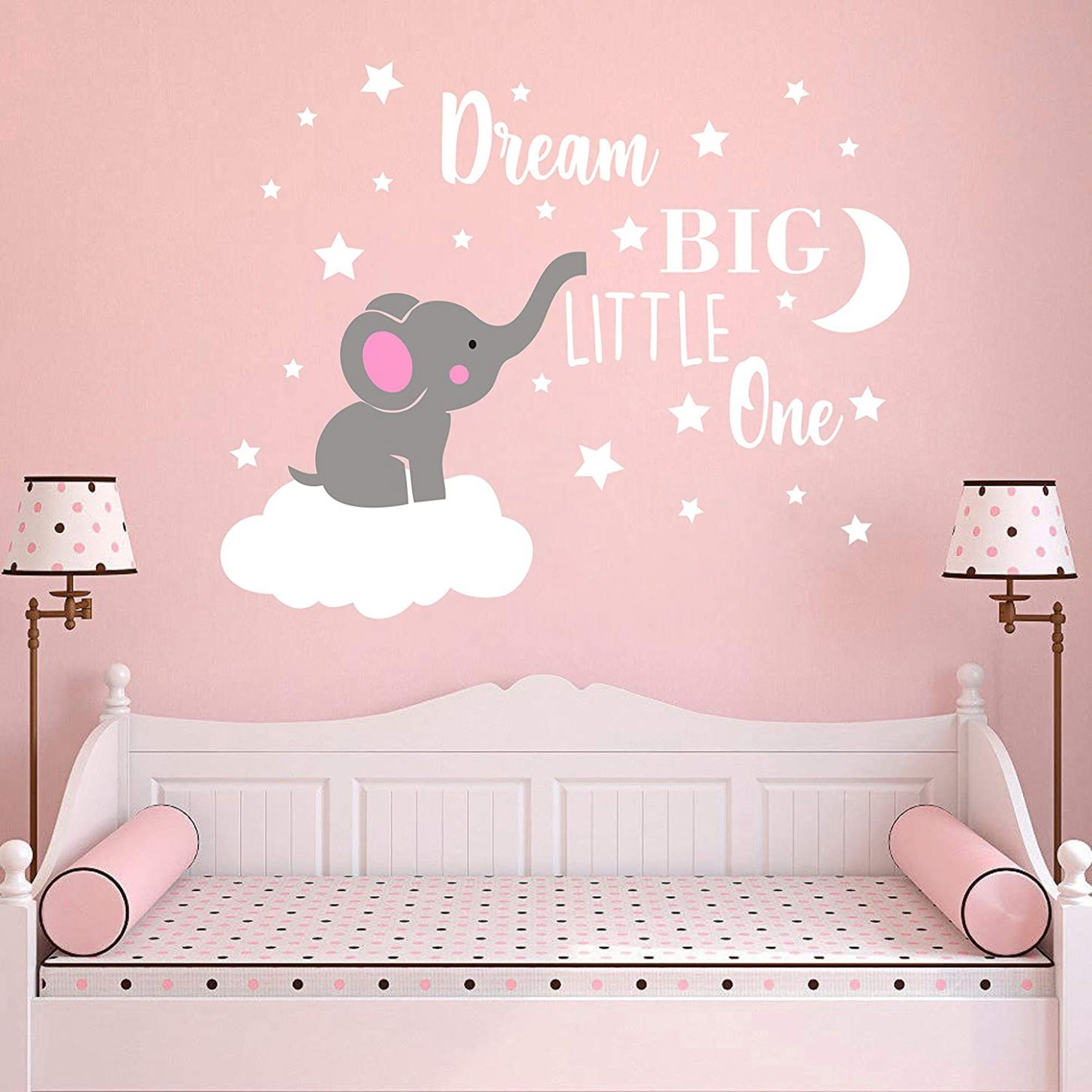 Dream Big Little One Elephant Wall Decal, Quote Wall Stickers, Baby Room  Wall Decor, Vinyl Wall Decals for Children Baby Kids Boy Girl Bedroom  Nursery ...