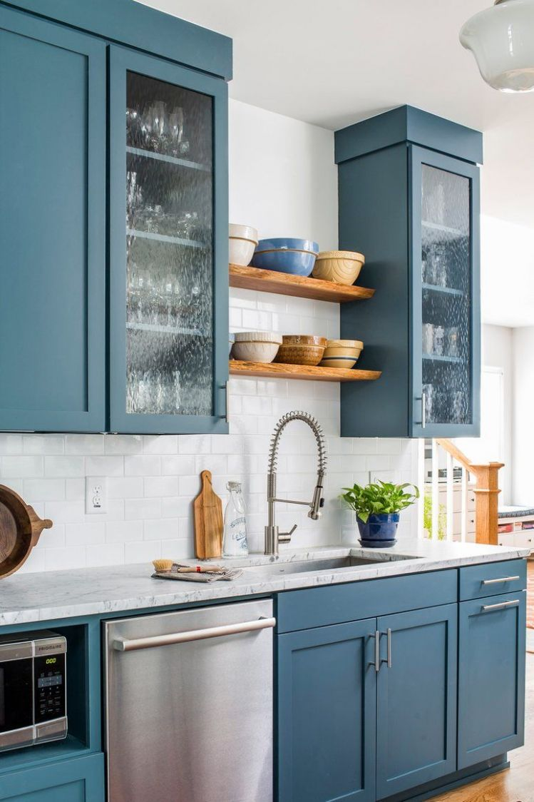 Dusty blue kitchen cabinets with walnut open shelving // From farm ..