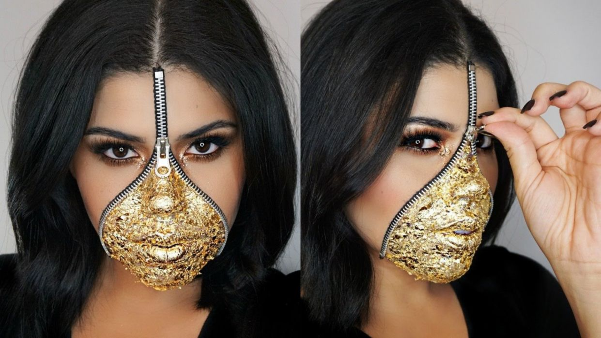 EASY Last Minute Zipper Face Makeup Using Gold Leaf | Halloween