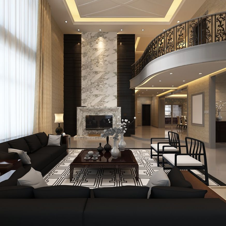 Elegant Living Room with Balcony 10D Model .max CGTrader.com - Up ...