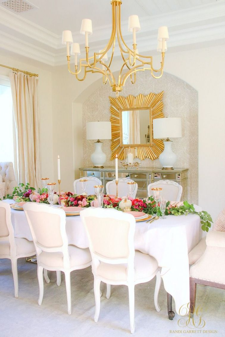 Elegant Pink and Gold Thanksgiving Table | Dining room table ...