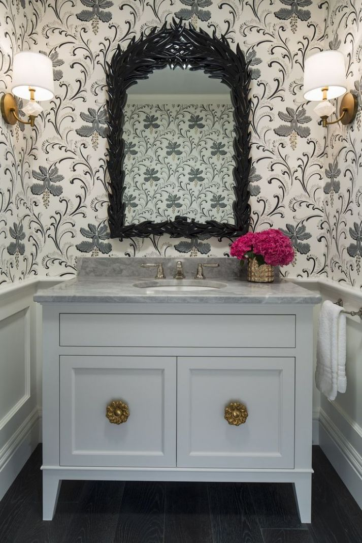 Elegant Vanity For Powder Room Brittum Gray Farm Bathroom Less ...