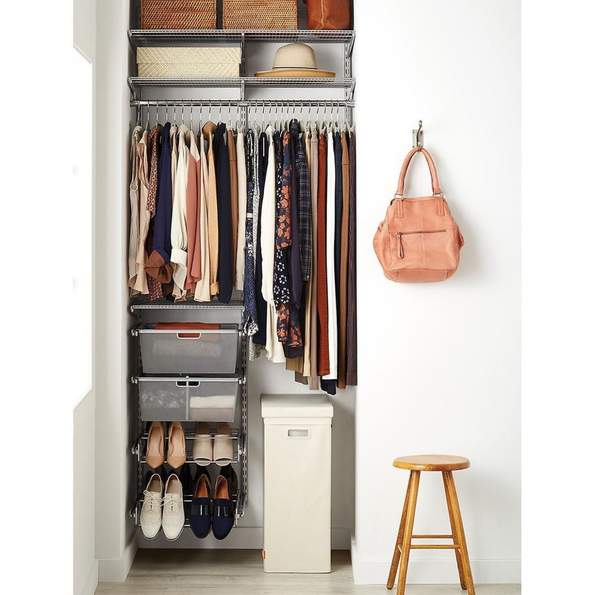 Elfa Classic 10' Platinum Small Space Closet (With images)   Small ...