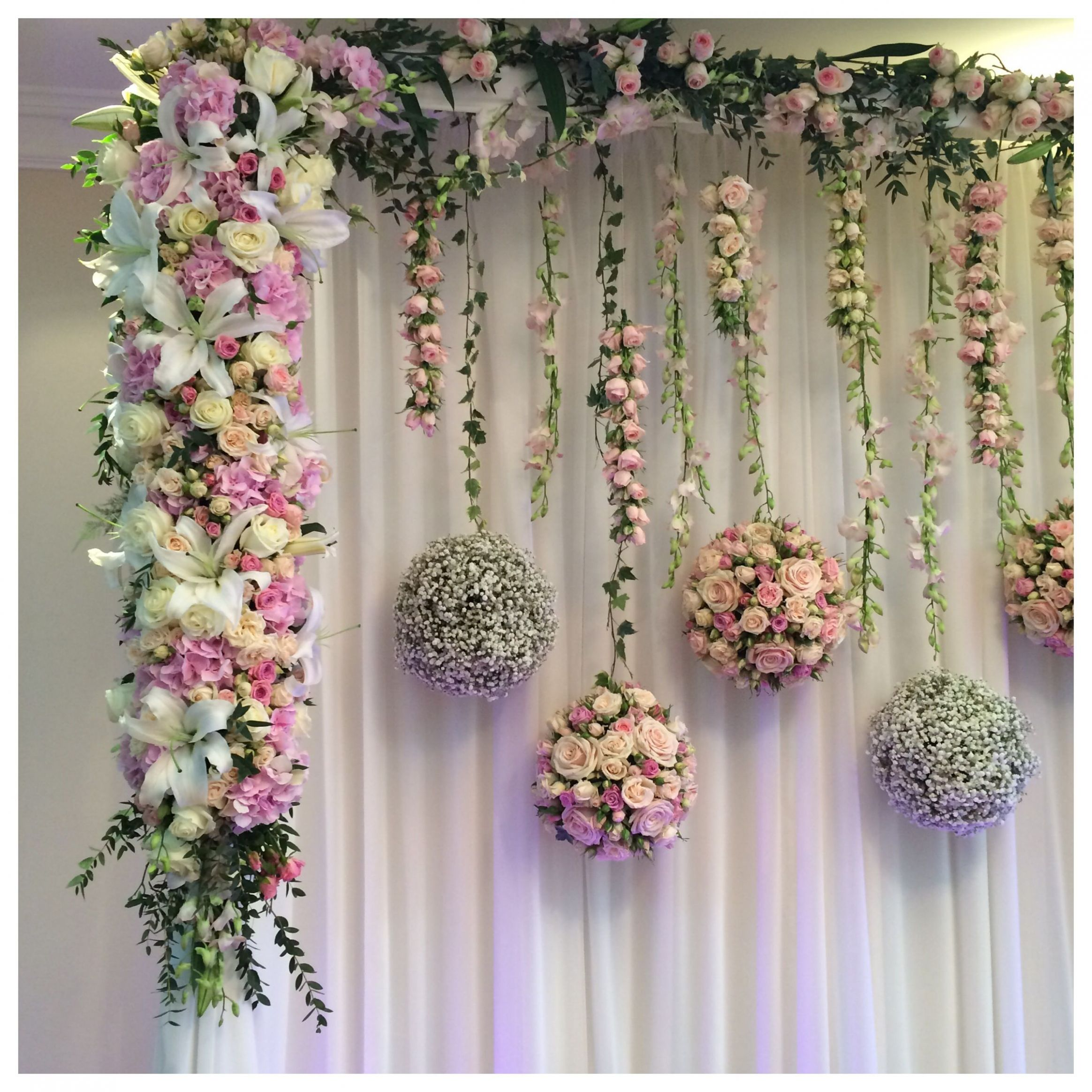Engagement Party Flower Wall Decor. I bought a bunch of flowers at ..