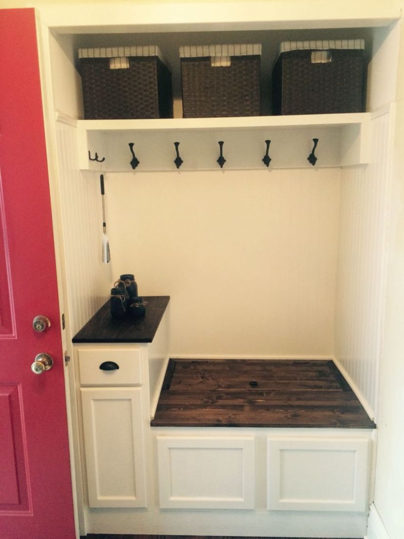 Entry way closet turned into mini mudroom. Great way to open up ..