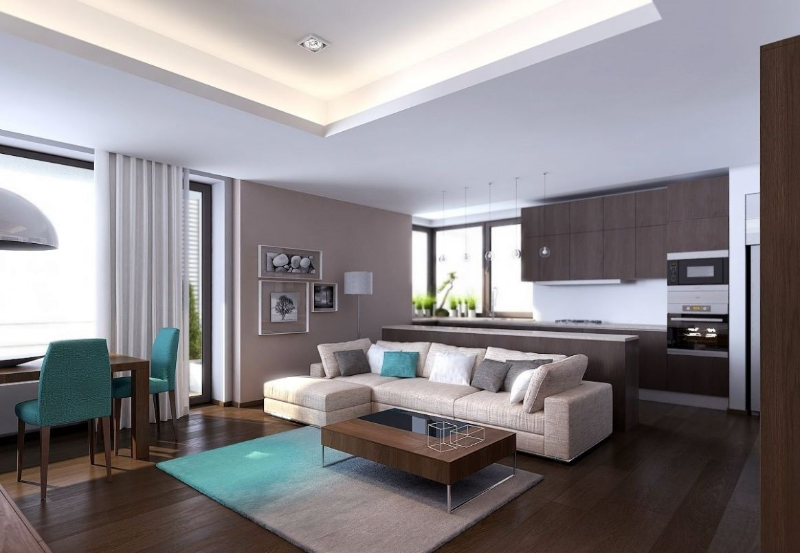 Exquisite Modern Living Room Decor Apartment Design With Tall Fire ...