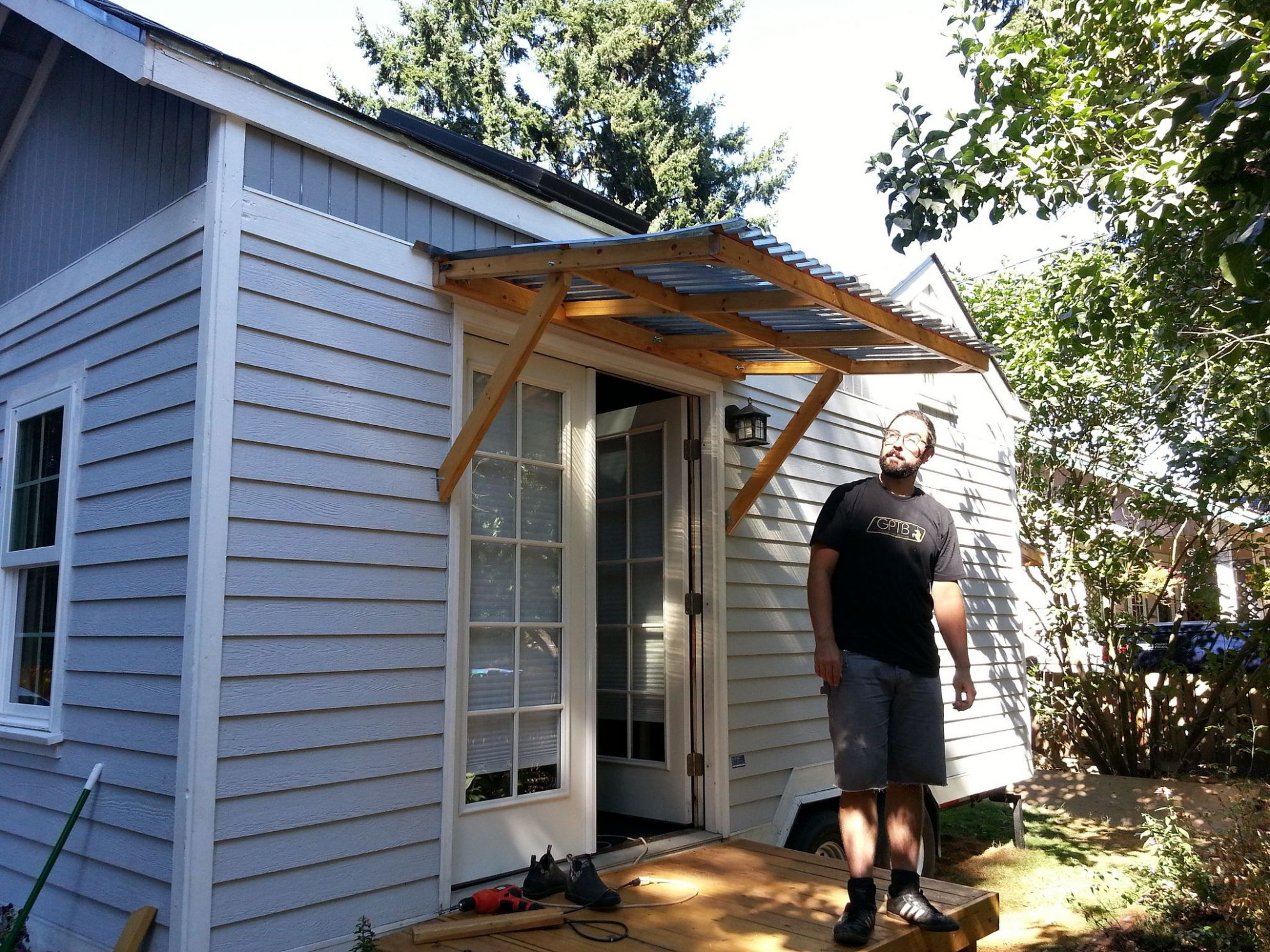 Exterior Exterior Decorations Sweet Small Wood Awning For Small ..