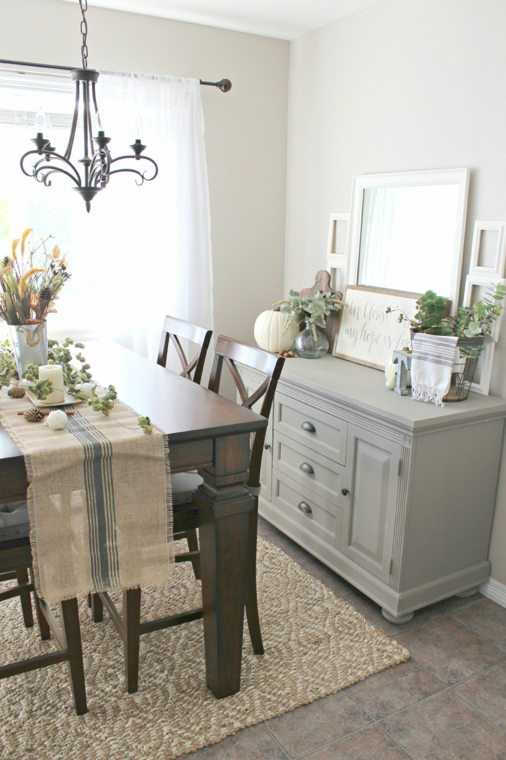 Fall Decor! Buffet table painted in Annie Sloan French Linen chalk ...