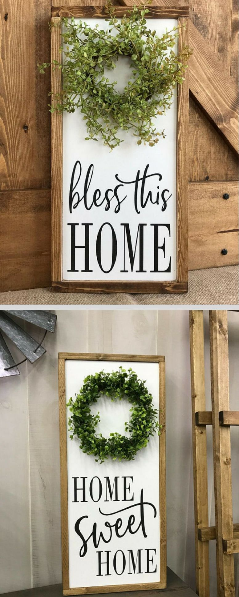 Farmhouse home decor signs, bless this home, home sweet home ..