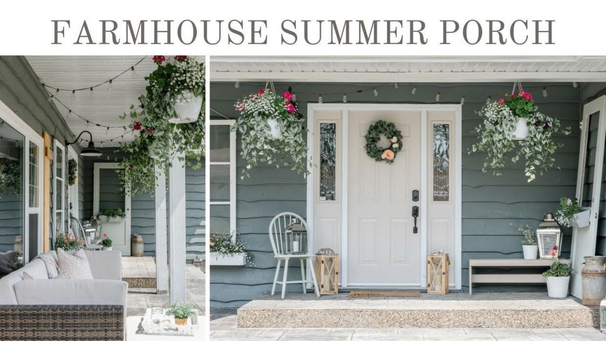 Farmhouse Summer Porch Tour | Summer Porch Decorating Ideas - youtube front porch decor