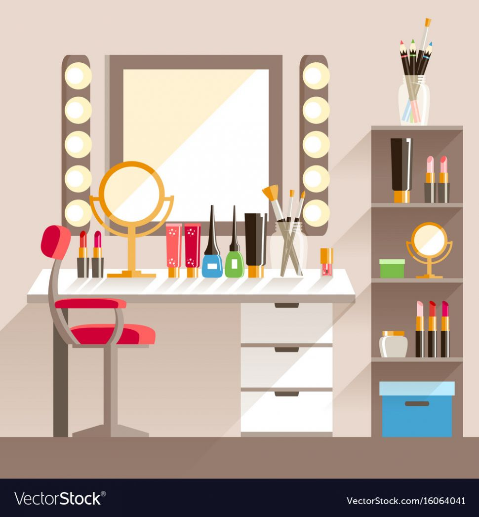 Flat makeup workers workplace mirror decorative