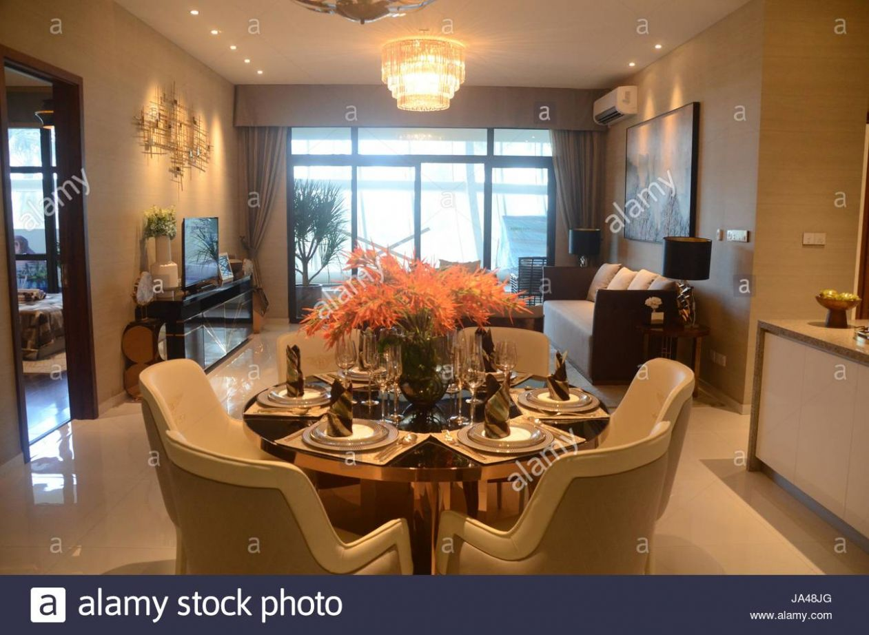 Forest City, in Johor Bahru, Malaysia. Model of apartment in ...