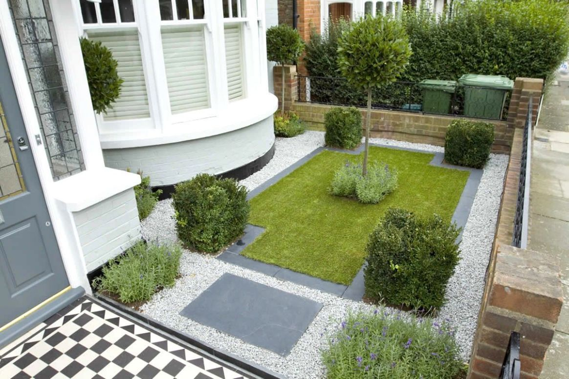 Front Garden Ideas Pebbles Garden Minimalist Grass Area And White ...