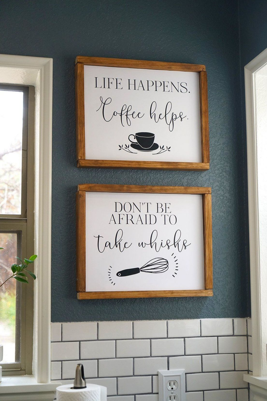 Funny kitchen wall art printable, life happens coffee helps, don't ...