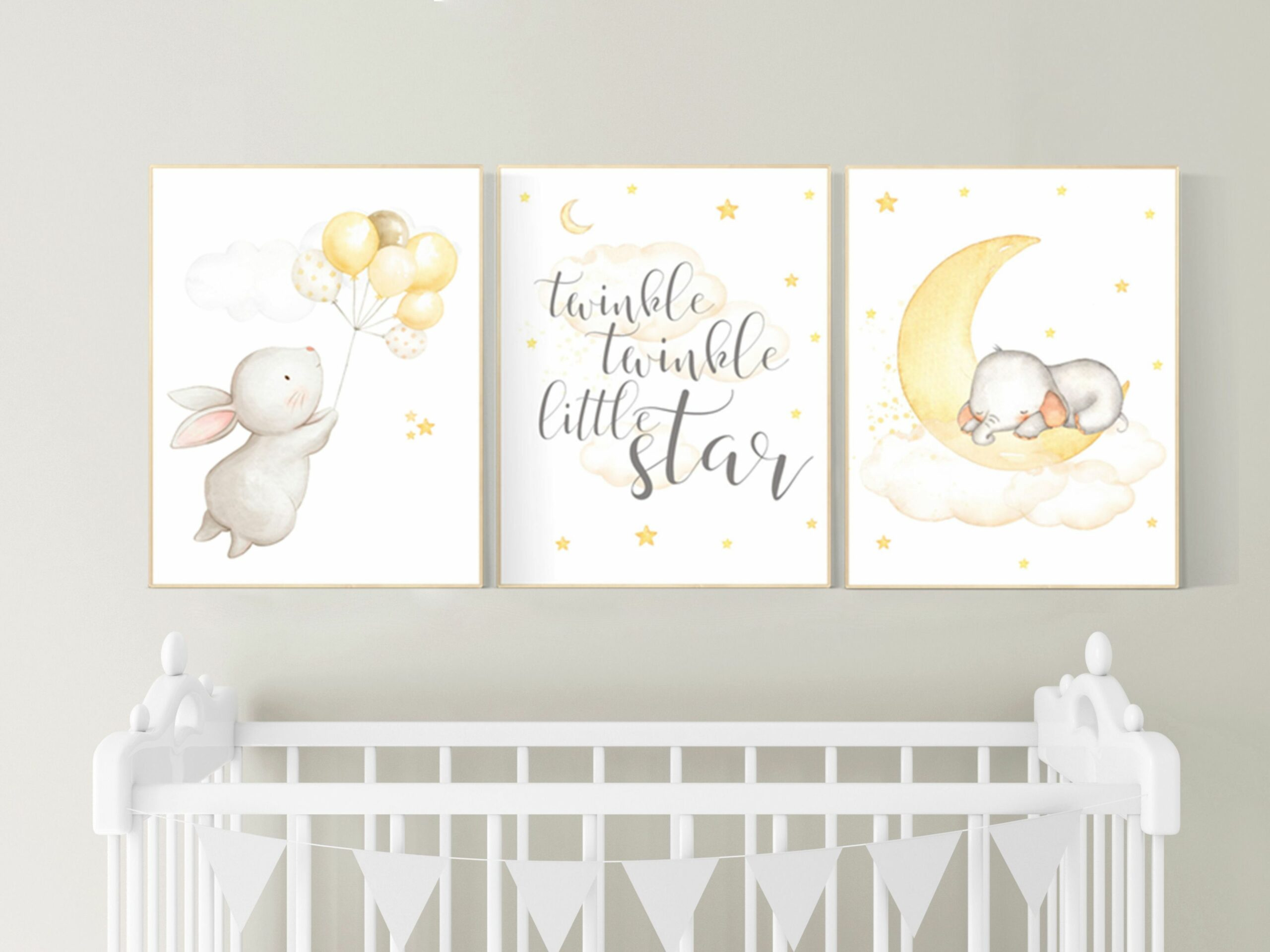 Gender neutral nursery wall art, yellow gray, yellow grey ..