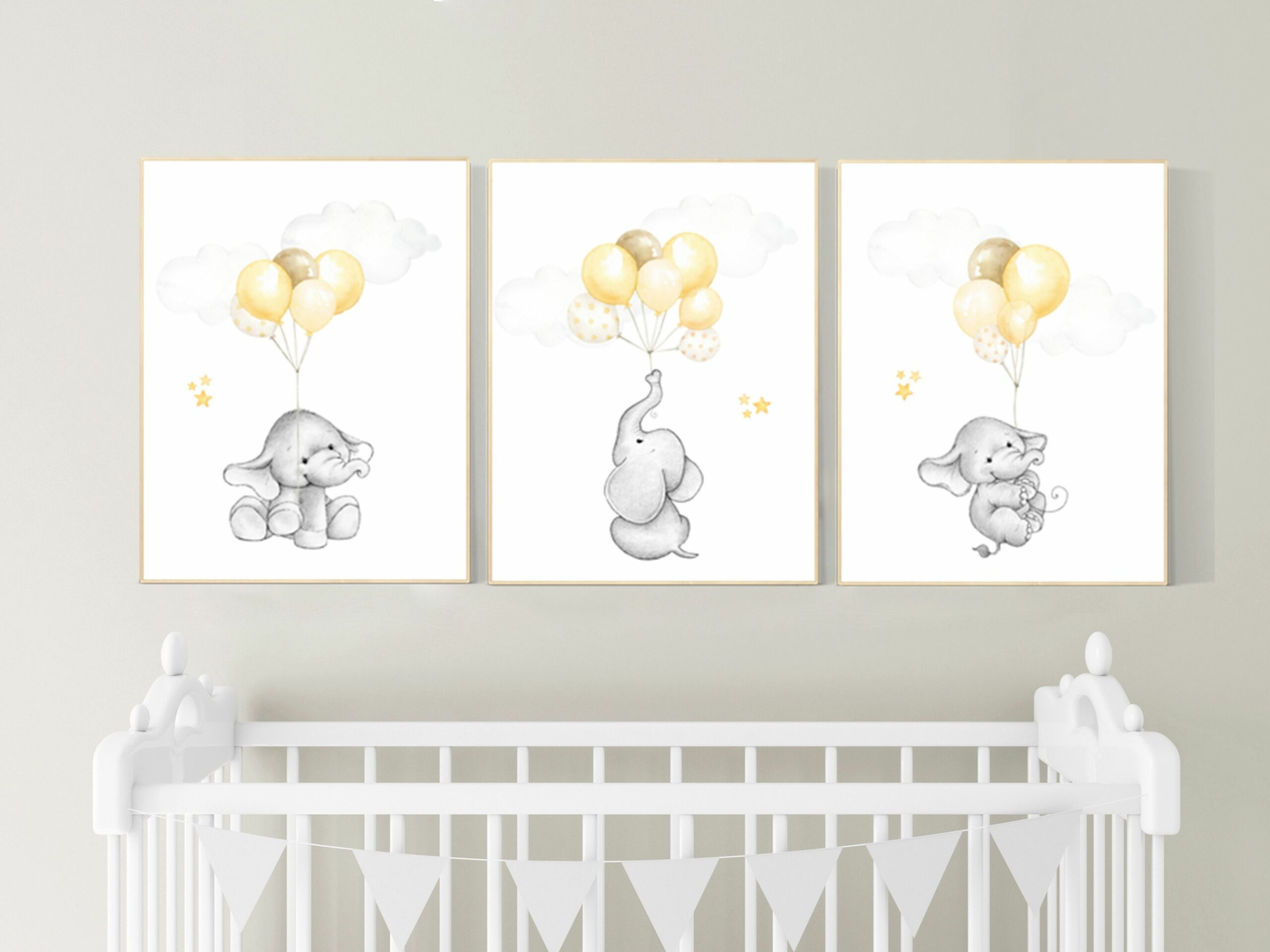 Gender neutral nursery wall art, yellow gray, yellow grey, neutral ..