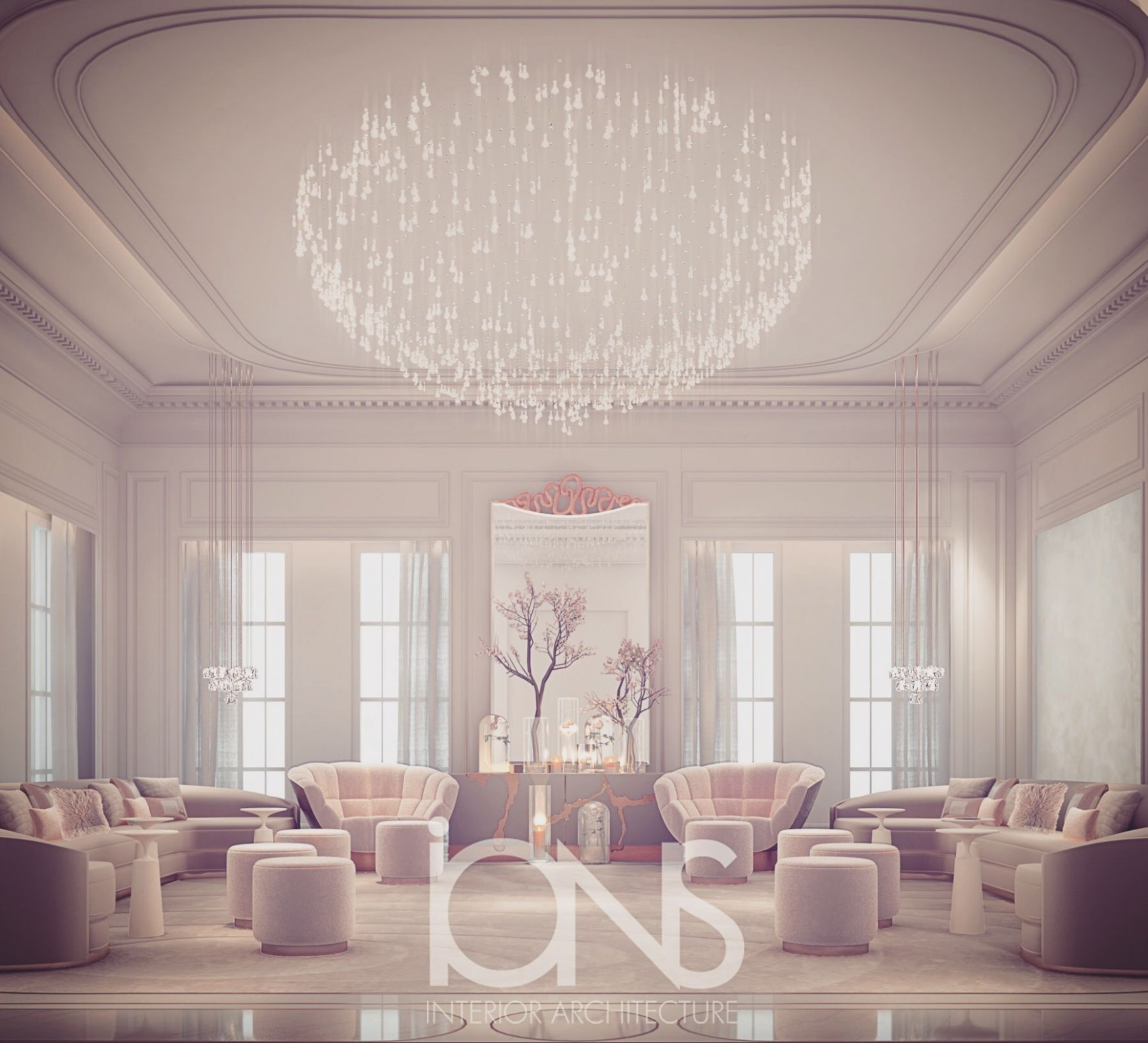 Glass House Inspired Ladies Majlis Room Design | IONS DESIGN