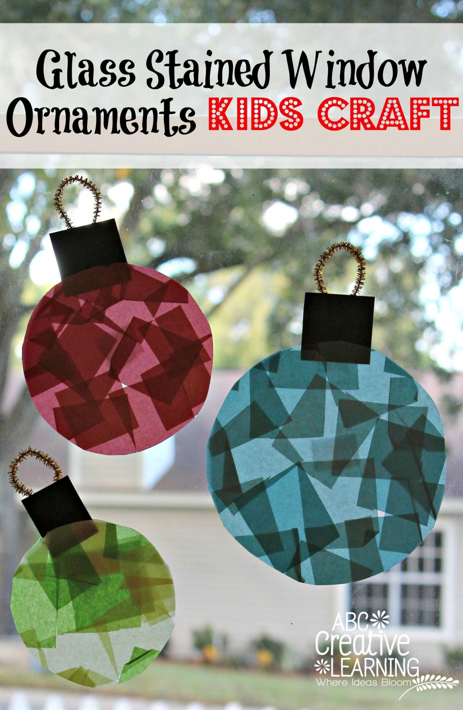 Glass Stained Christmas Window Ornaments | Christmas crafts for ...