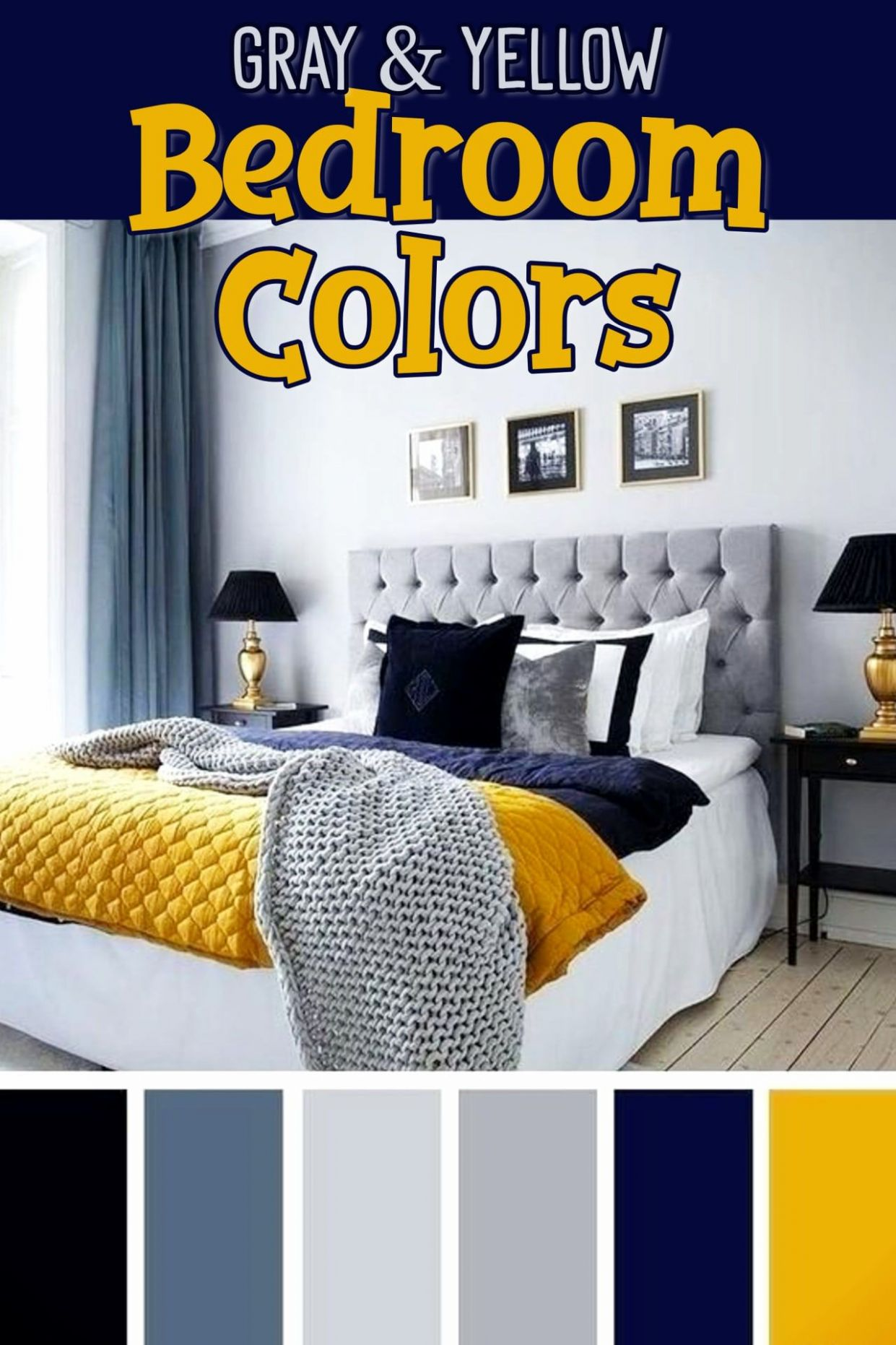 Gray and Yellow Bedroom Ideas -Yellow and Grey Bedding, Accent ...