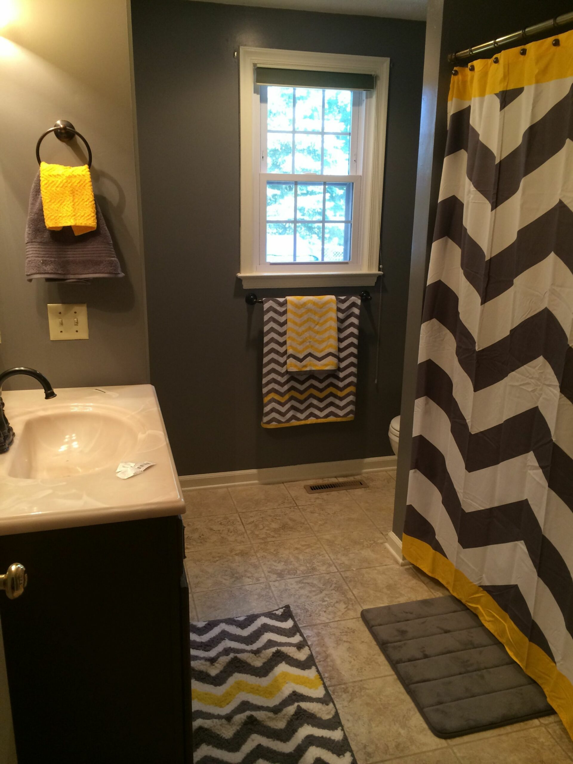 Gray and yellow chevron bathroom, Or substitute the yellow for any ..