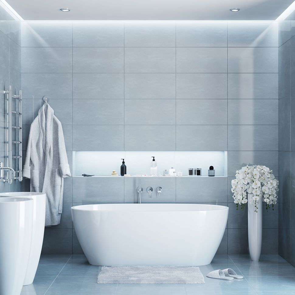 Gray Bathroom Ideas - The Home Depot - bathroom ideas grey tiles