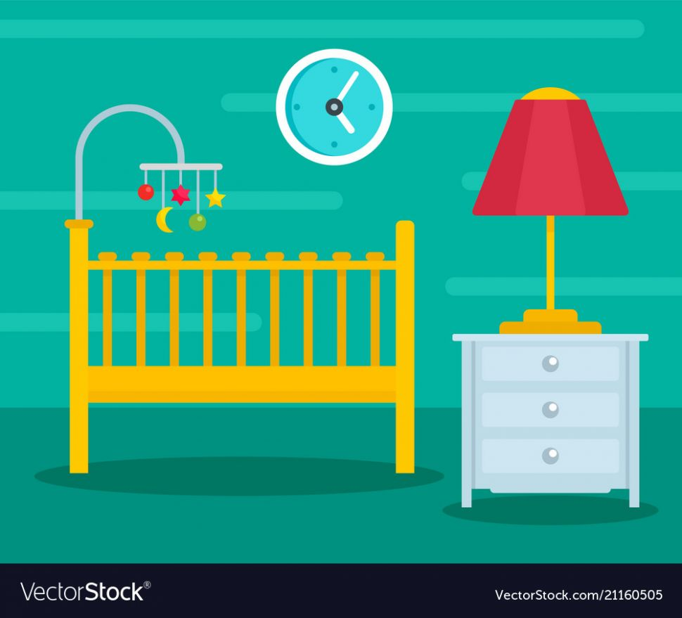 Green baby room background flat style - baby room background